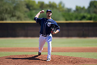 San Diego Padres pitcher Walker Lockett (34) delivers a pitch to the plate during an Instructional League game against the Milwaukee Brewers on September 27, 2017 at Peoria Sports Complex in Peoria, Arizona. (Zachary Lucy/Four Seam Images)