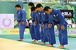 (L to R) Takeshi Ojitani, Masashi Nishiyama, Takahiro Nakai, Riki Nakaya, Masashi Ebinuma (JPN), .April 21, 2013 - Judo : .Asian Judo Championships 2013, Men's Team Competition Final .at Bangkok Youth Centre, Bangkok, Thailand. .(Photo by Daiju Kitamura/AFLO SPORT) [1045]