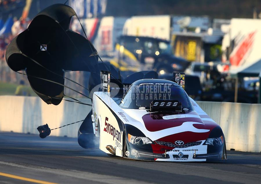 Oct 4, 2013; Mohnton, PA, USA; NHRA funny car driver Cruz Pedregon during qualifying for the Auto Plus Nationals at Maple Grove Raceway. Mandatory Credit: Mark J. Rebilas-