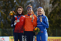 SPEED SKATING: COLLALBO: Arena Ritten, 12-01-2019, ISU European Speed Skating Championships, Podium European Allround, Martina Sablikova (CZE), Antoinette de Jong (NED), Francesca Lollobrigida (ITA), ©photo Martin de Jong