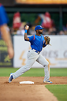 South Bend Cubs second baseman Delvin Zinn (20) throws to first base during a game against the Kane County Cougars on July 21, 2018 at Northwestern Medicine Field in Geneva, Illinois.  South Bend defeated Kane County 4-2.  (Mike Janes/Four Seam Images)