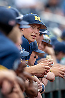 Michigan Wolverines pitcher Blake Beers (29) before Game 6 of the NCAA College World Series against the Florida State Seminoles on June 17, 2019 at TD Ameritrade Park in Omaha, Nebraska. Michigan defeated Florida State 2-0. (Andrew Woolley/Four Seam Images)