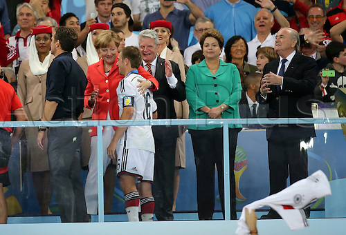 13.07.2014. Rio de Janeiro, Brazil. World Cup Final. Germany versus Argentina. Merkel celebrates Lahm at awards ceremony