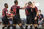 Torjubel um Florian NIEDERLECHNER  (re,FC Augsburg) nach Tor zum 0-1 mit Jeffrey GOUWELEEUW (Augsburg),<br />Chris Felix UDUOKHAI  (FC Augsburg),<br />Carlos GRUEZO (FC Augsburg)<br />Jubel,Freude,Begeisterung,<br /><br />Fussball 1. Bundesliga, 33.Spieltag, Fortuna Duesseldorf (D) -  FC Augsburg (A), am 20.06.2020 in Duesseldorf/ Deutschland. <br /><br />Foto: AnkeWaelischmiller/Sven Simon/ Pool/ via Meuter/Nordphoto<br /><br /># Editorial use only #<br /># DFL regulations prohibit any use of photographs as image sequences and/or quasi-video #<br /># National and international news- agencies out #