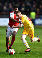 Fleetwood Town's Victor Nirennold battles with Millwall's Shane Ferguson<br /> <br /> Photographer Richard Martin-Roberts/CameraSport<br /> <br /> The EFL Sky Bet League One - Fleetwood Town v Millwall - Monday 17th April 2017 - Highbury Stadium - Fleetwood<br /> <br /> World Copyright &copy; 2017 CameraSport. All rights reserved. 43 Linden Ave. Countesthorpe. Leicester. England. LE8 5PG - Tel: +44 (0) 116 277 4147 - admin@camerasport.com - www.camerasport.com