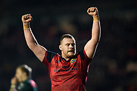 Brian Scott of Munster Rugby celebrates victory at the final whistle. European Rugby Champions Cup match, between Leicester Tigers and Munster Rugby on December 17, 2017 at Welford Road in Leicester, England. Photo by: Patrick Khachfe / JMP
