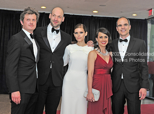 "The cast of ""House of Cards"" arrives for the 2013 White House Correspondents Association Annual Dinner at the Washington Hilton Hotel on Saturday, April 27, 2013.  From left to right: Producer Beau Willimon, and cast members Corey Stoll, Kate Mara, Constance Zimmer and Michael Kelly..Credit: Ron Sachs / CNP.(RESTRICTION: NO New York or New Jersey Newspapers or newspapers within a 75 mile radius of New York City)"