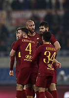 Football, Serie A: AS Roma - Genoa, Olympic stadium, Rome, December 16, 2018. <br /> Roma&rsquo;s Bryan Cristante (l) celebrates after scoring with his teammates during the Italian Serie A football match between Roma and Genoa at Rome's Olympic stadium, on December 16, 2018.<br /> UPDATE IMAGES PRESS/Isabella Bonotto