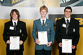 Boys Mountain Biking finalists Gunnar Wester, Adrian Retief & Glen Riley. ASB College Sport Young Sportperson of the Year Awards 2007 held at Eden Park on November 15th, 2007.