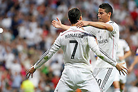 Cristiano Ronaldo and James of Real Madrid during La Liga match between Real Madrid and Atletico de Madrid at Santiago Bernabeu stadium in Madrid, Spain. September 13, 2014. (ALTERPHOTOS/Caro Marin) <br /> Football Calcio 2014/2015<br /> La Liga Spagna<br /> Foto Alterphotos / Insidefoto