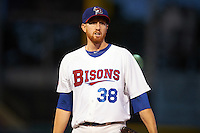 Buffalo Bisons relief pitcher Ben Rowen (38) during a game against the Lehigh Valley IronPigs on July 9, 2016 at Coca-Cola Field in Buffalo, New York.  Lehigh Valley defeated Buffalo 9-1 in a rain shortened game.  (Mike Janes/Four Seam Images)
