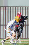 Santa Barbara, CA 04/16/16 - Jeff  Shriver (Chapman #60) and Alex Dixon (UCSB #18) in action during the final regular MCLA SLC season game between Chapman and UC Santa Barbara.  Chapman defeated UCSB 15-8. in action during the final regular MCLA SLC season game between Chapman and UC Santa Barbara.  Chapman defeated UCSB 15-8.