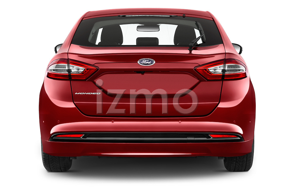 Straight rear view of a 2015 Ford Mondeo Titanium 5 Door Hatchback Rear View  stock images