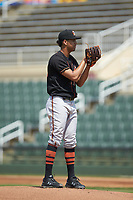 Delmarva Shorebirds starting pitcher Ofelky Peralta (39) looks to his catcher for the sign against the Kannapolis Intimidators at Kannapolis Intimidators Stadium on May 19, 2019 in Kannapolis, North Carolina. The Shorebirds defeated the Intimidators 9-3. (Brian Westerholt/Four Seam Images)