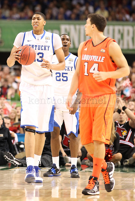 Anthony Davis and Marquis Teague react to a call in the first half of the Final Four of the NCAA Tournament, between the University of Kentucky and the University of Louisville, in the Superdome, on Saturday, March 31, 2012 in New Orleans, La.   Photo by Latara Appleby | Staff. ..