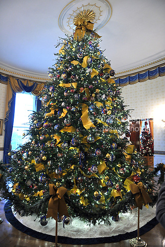 Washington, DC - December 2, 2009 -- The White House Christmas Tree is displayed in the Blue Room of the White House in Washington, D.C. on Wednesday, December 2, 2009.  The tree is 18 1/2 feet tall..Credit: Ron Sachs / CNP.(RESTRICTION: NO New York or New Jersey Newspapers or newspapers within a 75 mile radius of New York City)