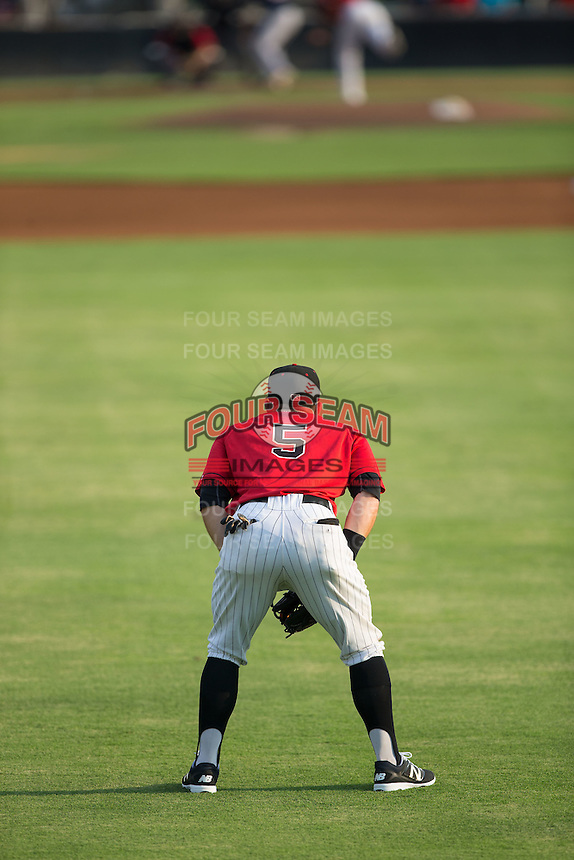 Kannapolis Intimidators center fielder Tyler Sullivan (5) on defense against the Hagerstown Suns at Kannapolis Intimidators Stadium on July 4, 2016 in Kannapolis, North Carolina.  The Intimidators defeated the Suns 8-2.  (Brian Westerholt/Four Seam Images)