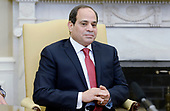 President Abdel Fattah Al Sisi of Egypt looks on in the Oval Office of White House during a meeting with United States President Donald Trump in Washington, DC, April 3, 2017.<br /> Credit: Olivier Douliery / Pool via CNP