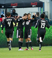 16 April 2011:  D.C. United celebrate a goal during an MLS game between D.C. United and the Toronto FC at BMO Field in Toronto, Ontario Canada..D.C. United won 3-0.