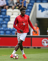 Kortney Hause (Wolverhampton Wanderers) of England warms up before the International EURO U21 QUALIFYING - GROUP 9 match between England U21 and Norway U21 at the Weston Homes Community Stadium, Colchester, England on 6 September 2016. Photo by Andy Rowland / PRiME Media Images.