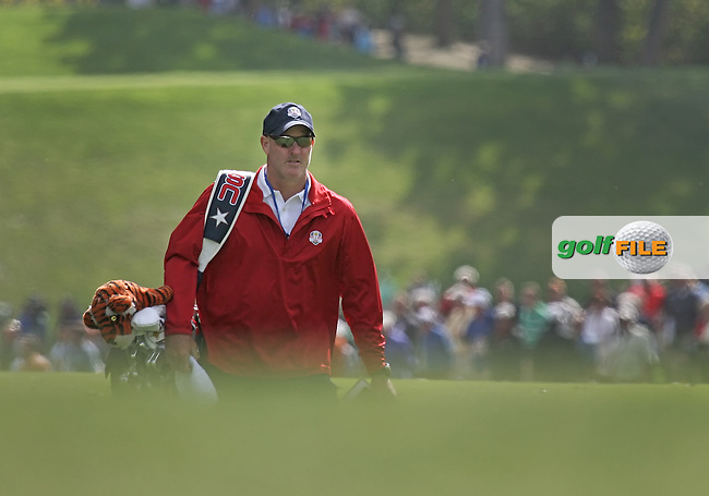 25 SEP 12 Caddie Joey LaCava in the 18th fairway during Tuesdays Celebrity Scramble at The 39th Ryder Cup at The Medinah Country Club in Medinah, Illinois.