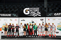IMSA WeatherTech SportsCar Championship<br /> Rolex 24 Hours<br /> Daytona Beach, Florida, USA<br /> Sunday 28 January 2018<br /> #31 Action Express Racing Cadillac DPi, P: Eric Curran, Mike Conway, Stuart Middleton, Felipe Nasr, #5 Action Express Racing Cadillac DPi, P: Joao Barbosa, Christian Fittipaldi, Filipe Albuquerque, #54 CORE autosport ORECA LMP2, P: Jon Bennett, Colin Braun, Romain Dumas, Loic Duval, podium<br /> World Copyright: Michael L. Levitt<br /> LAT Images<br /> <br /> ref: Digital Image _68I0776