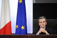 Roma, 20 Gennaio 2012.Conferenza stampa dopo il Consiglio dei Ministri sui decreti riguardanti le liberalizzazioni e la crescita economica.. Il Vice Ministro all'economia Vittorio Grilli