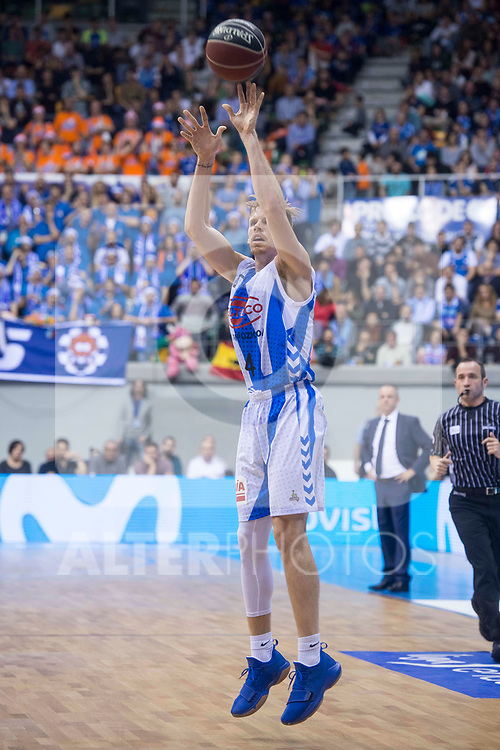 Gipuzkoa Basket Jordan Swing during Liga Endesa match between San Pablo Burgos and Gipuzkoa Basket at Coliseum Burgos in Burgos, Spain. December 30, 2017. (ALTERPHOTOS/Borja B.Hojas)