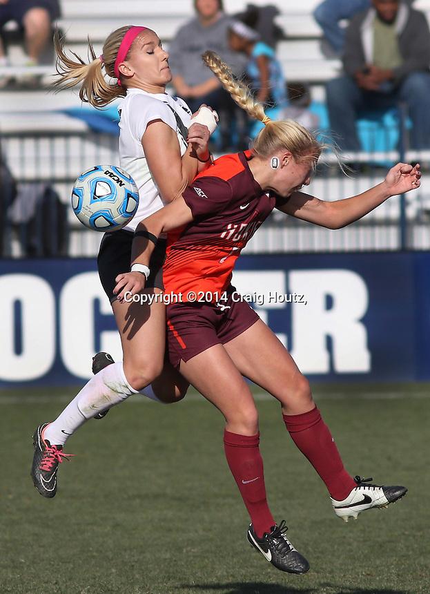 Penn State's Emily Hurd (3) against Virginia Tech's Mary Morgan (21) during the NCAA D1 Women's Soccer Tournament 3rd Round Game on Nov. 23, 2014. No. 8 Penn State won 2-1. Photo/©2014 Craig Houtz