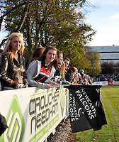 Bedford, England. Falcons supporters during The Championship Bedford Blues vs Newcastle Falcons at Goldington Road  Bedford, England on November 3, 2012