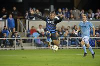 San Jose, CA - Saturday September 15, 2018: Danny Hoesen during a Major League Soccer (MLS) match between the San Jose Earthquakes and Sporting Kansas City at Avaya Stadium.