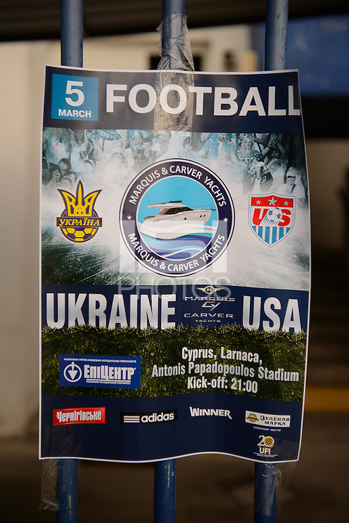 Larnaka, Cyprus - Wednesday, March 5, 2014: The USA Men's national team plays against Ukraine in an international friendly at the Atonis Papadopoulos Stadium.