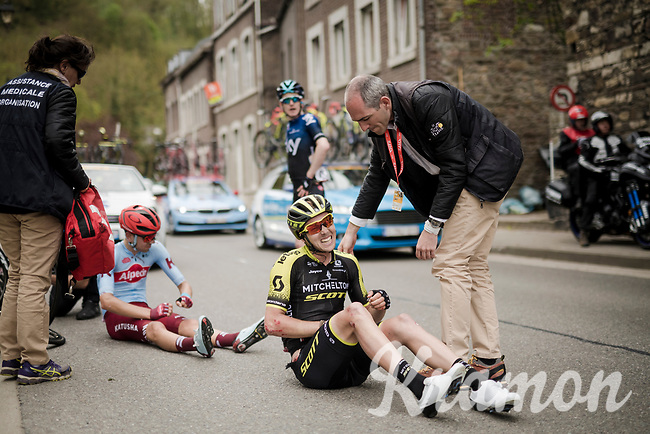 gnarly/painful crash for Dion Smith (NZL/Mitchelton-Scott)<br /> <br /> 83rd La Flèche Wallonne 2019 (1.UWT)<br /> One day race from Ans to Mur de Huy (BEL/195km)<br /> <br /> ©kramon