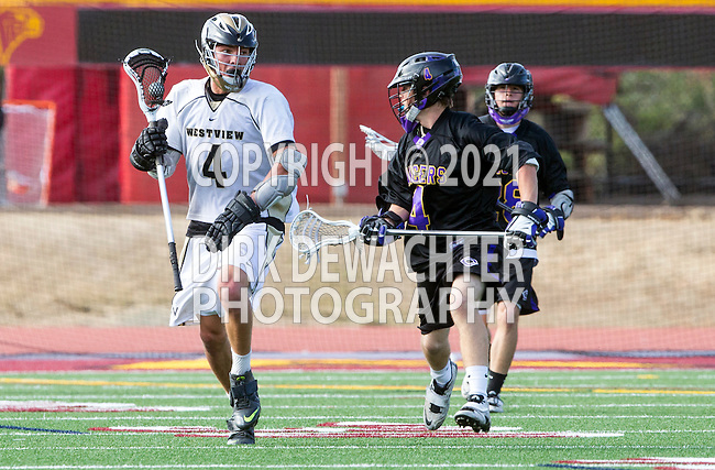 San Diego, CA 05/25/13 - John Rankin (Westview #4) and Dylan Harris (Carlsbad #4) in action during the 2013 Boys Lacrosse San Diego CIF DIvision 1 Championship game.  Westview defeated Carlsbad 8-3. in action during the 2013 Boys Lacrosse San Diego CIF DIvision 1 Championship game.  Westview defeated Carlsbad 8-3.