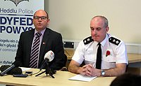 Pictured L-R: Chief Inspector Martin Slevin and Chief Superintendent Tony Brown. Tuesday 07 November 2017<br /> Re: Dyfed Powys Police press conference at Llandrindod Wells over a house fire that killed a father and his children in Llangammarch Wells, mid Wales, UK. <br /> David Cuthbertson, 68, and the children aged between four and 11 are missing, presumed dead, following the blaze.<br /> Three other children aged 10, 12 and 13 escaped and were taken to hospital.<br /> Dyfed-Powys Police said they have been released and are being cared for by family.