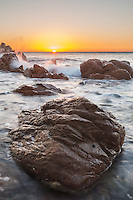 Sunset over the rocky shoreline at Hallett Cove, where I swam and played as a child. It is still just as magical, with the waves catching the sunset light.