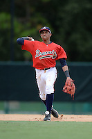 Atlanta Braves infielder Johan Camargo (16) during an Instructional League game against the Houston Astros on September 22, 2014 at the ESPN Wide World of Sports Complex in Kissimmee, Florida.  (Mike Janes/Four Seam Images)