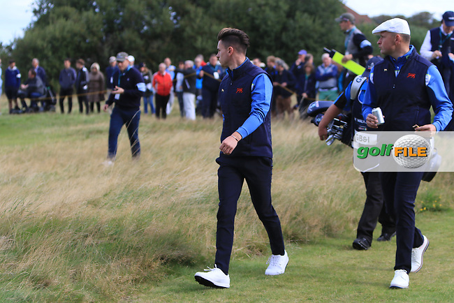 Conor Gough (GB&I) and Harry Hall (GB&I) on the 6th during the Foursomes at the Walker Cup, Royal Liverpool Golf CLub, Hoylake, Cheshire, England. 07/09/2019.<br /> Picture Thos Caffrey / Golffile.ie<br /> <br /> All photo usage must carry mandatory copyright credit (© Golffile | Thos Caffrey)