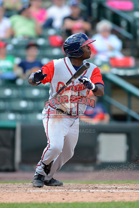 Gwinnett Braves outfielder Brandon Boggs #58 during a game against the Rochester Red Wings on June 16, 2013 at Frontier Field in Rochester, New York.  Rochester defeated Gwinnett 6-3.  (Mike Janes/Four Seam Images)