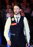 Judd Trump enters the arena before the Dafabet Masters Quarter Final 2 match between Judd Trump and Neil Robertson at Alexandra Palace, London, England on 15 January 2016. Photo by Liam Smith / PRiME Media Images.