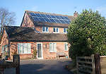 Solar panels on roof of residential property in Woodbridge, Suffolk, England