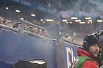 08.09.2017, Volksparkstadion, Hamburg, GER, 1.FBL, Hamburger SV vs RB Leipzig<br /> <br /> im Bild<br /> im Familienblock des Volksparkstadion steigt Rauch auf, Fans machen darauf aufmerksam, <br /> <br /> Foto &copy; nordphoto / Ewert