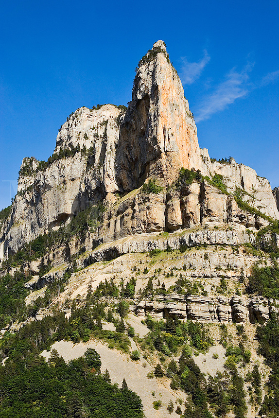 France. Drome, Diois. Rocher de Combau. Rhone Alpes. Dramatic rock needle.