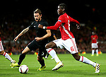 Paul Pogba of Manchester United takes on Mikhail Sivakov of FC Zorya Luhansk during the UEFA Europa League match at Old Trafford Stadium, Manchester. Picture date: September 29th, 2016. Pic Matt McNulty/Sportimage