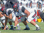 Palos Verdes, CA 09/25/15 - Steven Almada (Lawndale #77) in action during the Lawndale - Palos Verdes Peninsula Varsity football game at Peninsula High School.