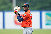 Jose Montero (52) of the Greeneville Astros warms up in the outfield prior to the game against the Kingsport Mets at Hunter Wright Stadium on July 7, 2015 in Kingsport, Tennessee.  The Mets defeated the Astros 6-4. (Brian Westerholt/Four Seam Images)