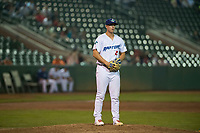 Ogden Raptors relief pitcher Justin Bruihl (45) gets ready to deliver a pitch during a Pioneer League game against the Great Falls Voyagers at Lindquist Field on August 23, 2018 in Ogden, Utah. The Ogden Raptors defeated the Great Falls Voyagers by a score of 8-7. (Zachary Lucy/Four Seam Images)