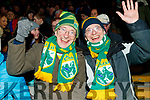Kerry fans Tim and Michael O'Connell, Tralee, enjoying the atmosphere at the Kerry v Dublin, Allianz National League at Austin Stack Park, Tralee on Saturday night last.