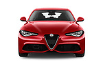 Car photography straight front view of a 2017 Alfa Romeo Giulia Veloce 4 Door Sedan