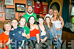 Fans l-r  Mary O'Sullivan, Ben Healy, Kate O'Sullivan, Selina Kenny, Sarah Enright, Megan Kenny,  Karen O'Connor, Back Colin O'Sullivan and Robert Brady  watching the EURO's Ireland v France at the Huddle Bar on Sunday